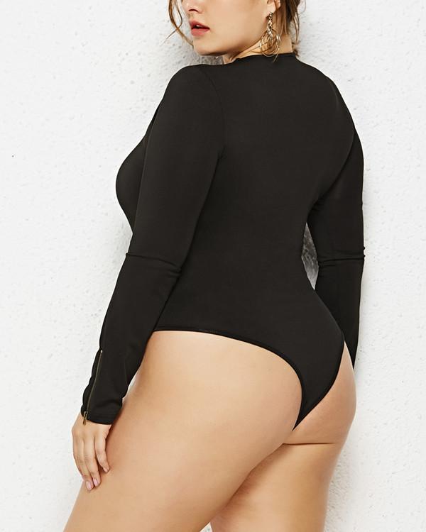 Plus Size Round Neck Romper Long Sleeve Bodysuit