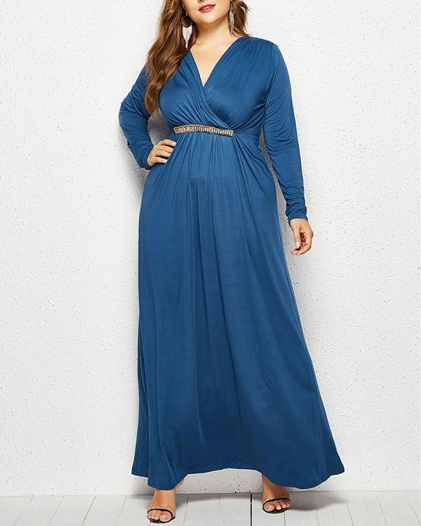 Long Sleeve Stitching Plus Size Deep V-neck Dress