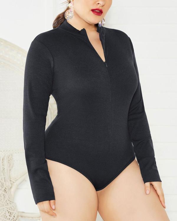 Plus Size V Neck Long Sleeve Bodysuit  Slim Rompers