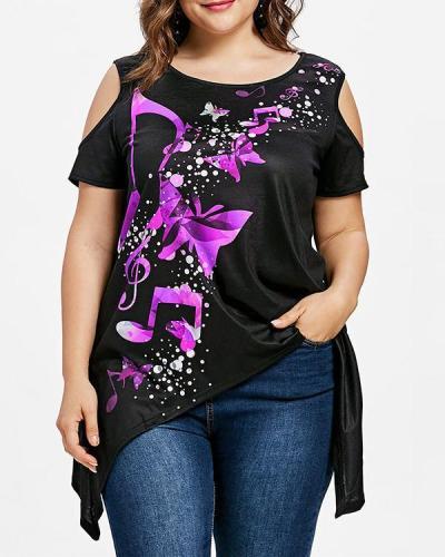 Off-Shoulder Plus Size Mid-length T-shirt Irregular Hem Top