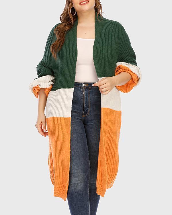Stitching Mid-length Thick Warm Sweater Cardigan Jacket