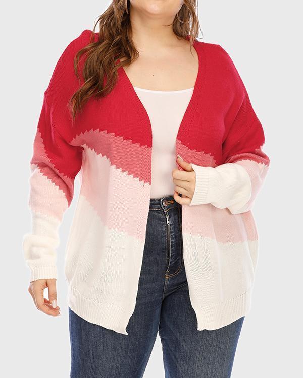Plus Size Ombre Open Front Cardigan
