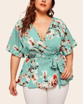 Plus Size V-neck Short-Sleeved Printed Waist-tied Loose Chiffon Top