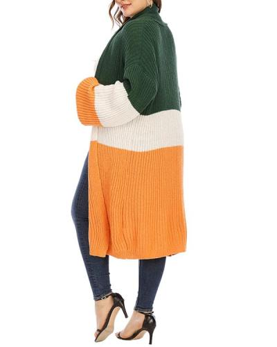 Stitching Mid-length Thick Warm Sweater Cardigan Jacket