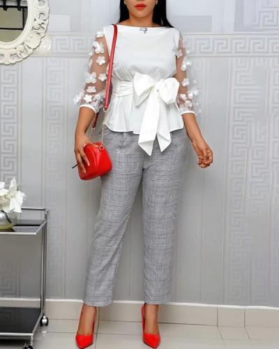 Plus Size Elegant Tie bow Shirt Top