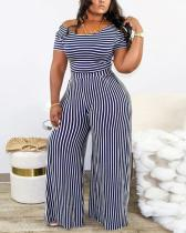 Striped Wide Leg Two Piece Plus Size Set