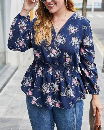 Plus Size Sexy V-neck Top Fashion Printed Shirt