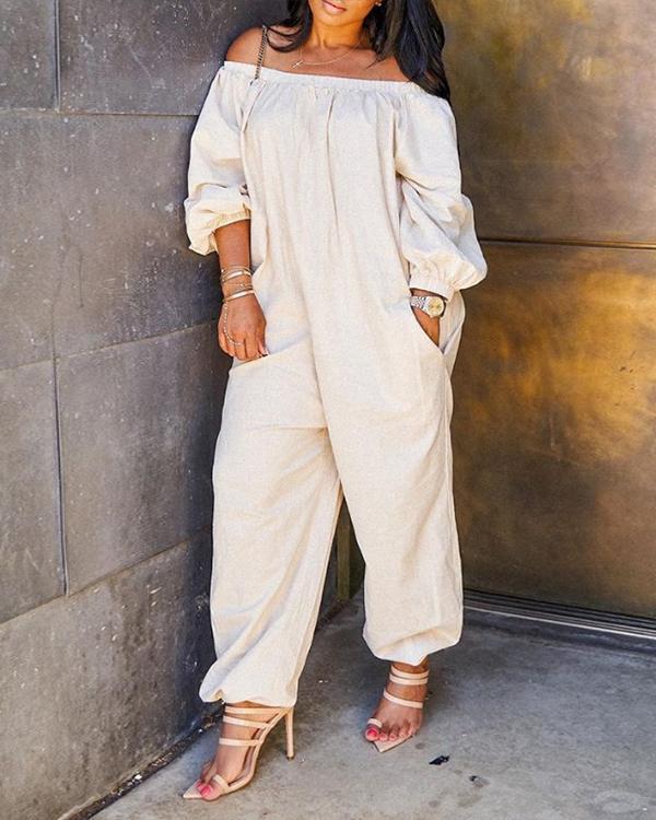 Leisure Loose White Plus Size One-piece Jumpsuit