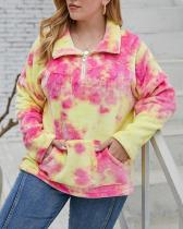 Thick Fashionable Tie-dye Plush Polo Collar Sweater