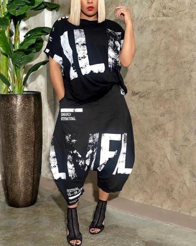 Cool Printed Short Sleeve Two Piece Pants Set