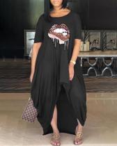 Casual Short Sleeve Lips Print Asymmetrical Plus Size Dress