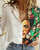 Vintage Printed Long Sleeve Turn-down Collar Patchwork Blouse For Women