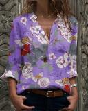 Plus Size Floral Casual V-Neckline Long Sleeve Blouses