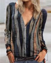 Print Casual V-Neckline Long Sleeve Blouses