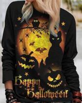 Women Print Casual Long Sleeve Loose Halloween Sweatshirt