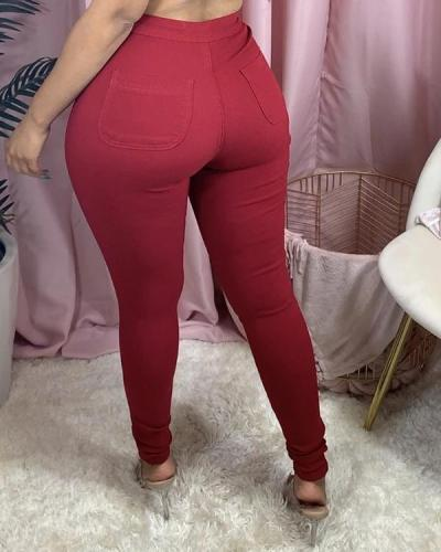 Fashion Casual Solid Plus Size Mid Waist Trousers