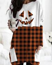 Color Stitching Print Long Sleeve Pockets Casual Blouses Tops