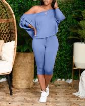 Slant Shoulder Loose Plus Size Women's Two-piece Suit
