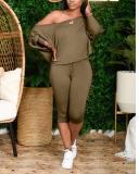 Slant Shoulder Loose Plus Size Women's Two-piece Suit