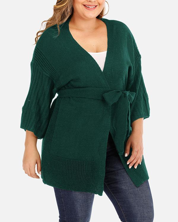 Deep V 3/4 Sleeve Machine Knitted Sweater Loose Cardigan Strap Casual Jacket