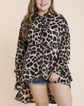 Plus Size Leopard Print Asymmetric Top
