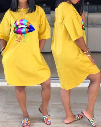 Colorful Lip Plus Size Casual Dress