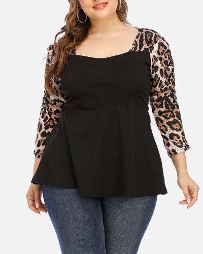 Pleated Puff Sleeve 3/4 Sleeve Leopard Print Stitching Fashion T-Shirt Top