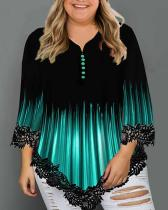 Plus Size Gradient Print Loose T-shirt