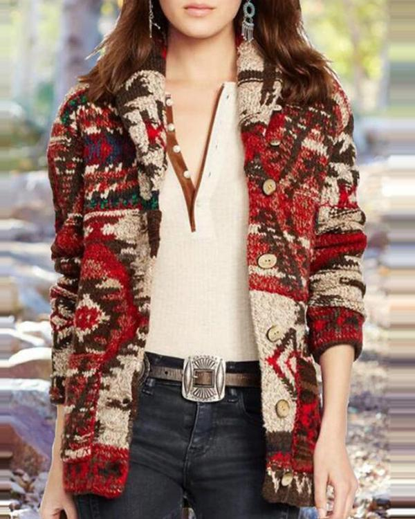 Women's Printed Long-sleeved Coat