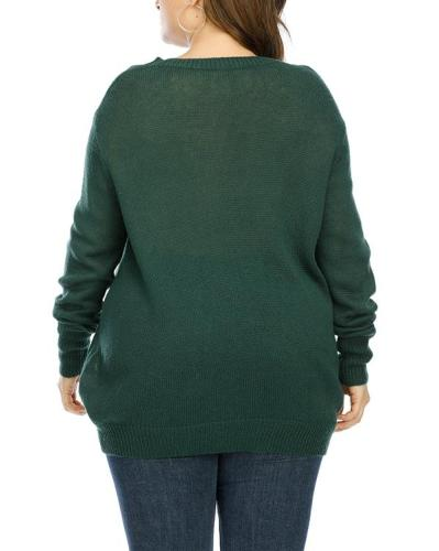 Plus Size Cross Strap Long Sleeve Sweater