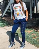 Plus Size Graffiti Print Casual T-Shirt