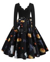 Halloween Pumpkin V Neck Print Dress With Waistband