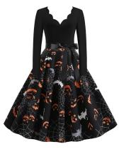 Halloween Pumpkin V Neck Print Dress With Waistband