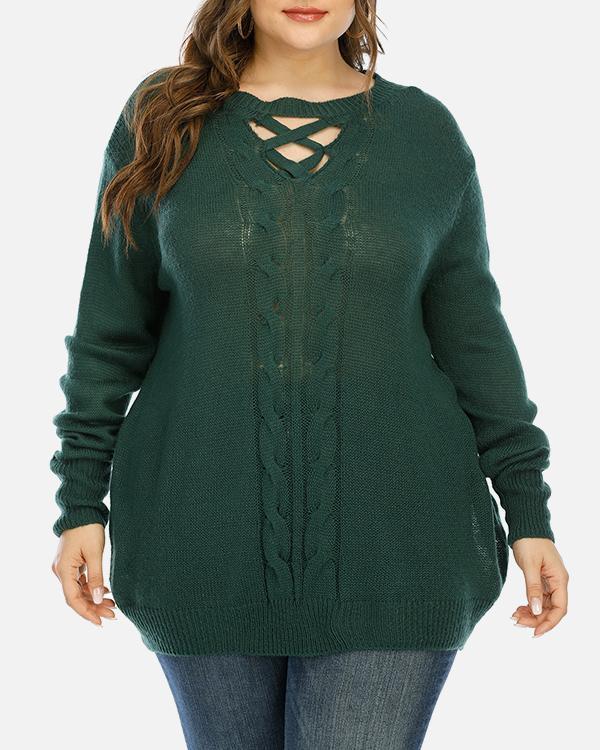 Plus Size Cross Strap Long Sleeve Sweater
