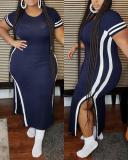 Plus Size Side Slit Short Sleeve Dress