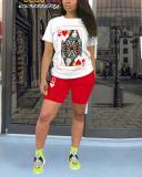 Fashion Casual Sportswear Playing Card Print Plus Size Set