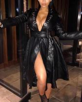 Fashion Casual Plus Size V Neck Long Sleeve Leather Jacket