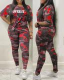 Plus Size Long Sleeve Camouflage Knotted Top & Shorts
