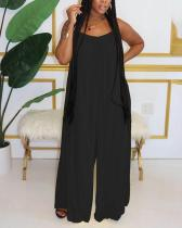 Fashion Sexy Suspenders Solid Color Wide-Leg Jumpsuit