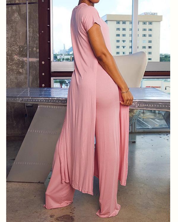 Simple Solid Color Slit Tunic & Pants Set