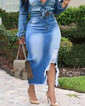 Fashion Daily Destroyed Denim Skirt