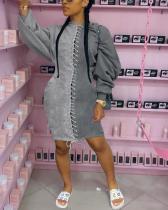 Plus Size Color Block Eyelet Detail Dress
