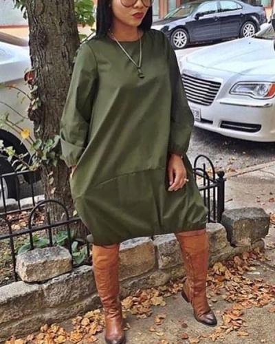 Pure Color Loose Simple Dress