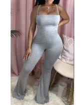 Plus Size Suspender Slim Fit Flared Casual Fashionable Solid Jumpsuit