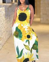 Bohemian V Neck Sunflower Print Yellow Maxi Plus Size Dress