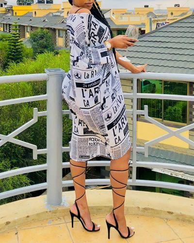 Casual Print Knee Length Plus Size Dress