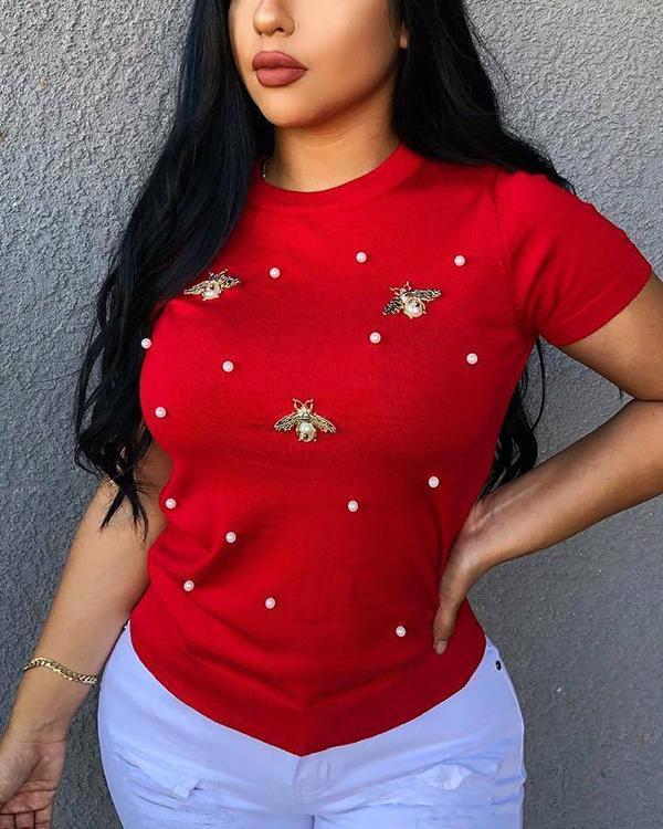 Beaded Detail Short Sleeve T-Shirt