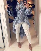 Fashion Striped Shirt Irregular Top