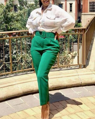 High Waist Casual Trousers Slimming Suit Pants Trousers with Belt