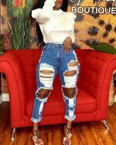 Denim Ripped Straight Jeans